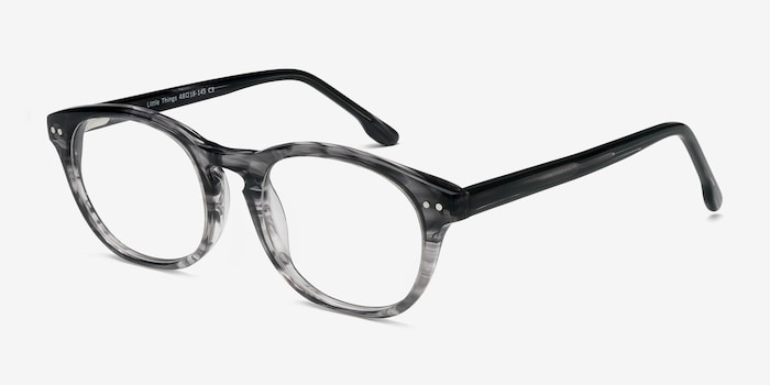 Little Things Gray Striped Acetate Eyeglass Frames from EyeBuyDirect, Angle View