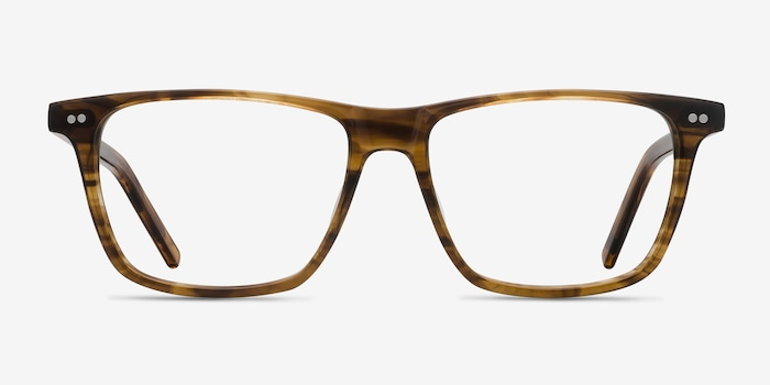 Default Brown Striped Acetate Eyeglass Frames from EyeBuyDirect, Front View