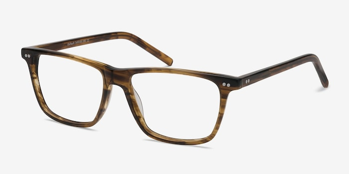 Default Brown Striped Acetate Eyeglass Frames from EyeBuyDirect, Angle View