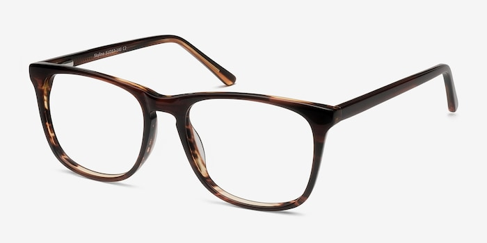 Skyline Brown Striped Acetate Eyeglass Frames from EyeBuyDirect, Angle View