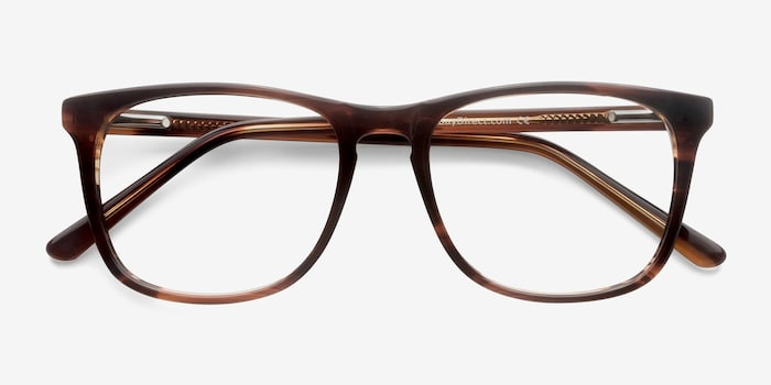 Skyline Brown Striped Acetate Eyeglass Frames from EyeBuyDirect, Closed View