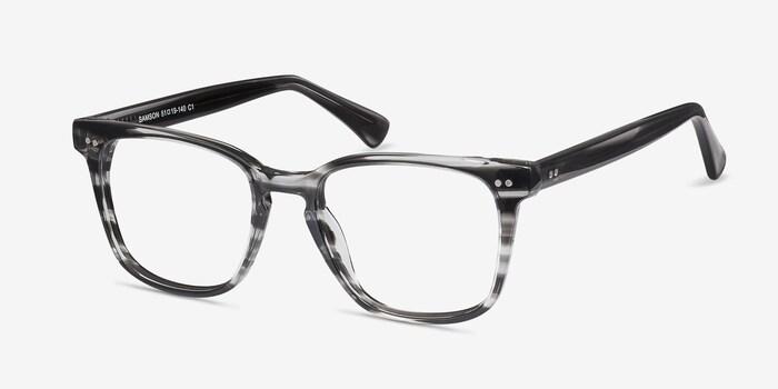 Samson  Gray Striped  Acetate Eyeglass Frames from EyeBuyDirect, Angle View