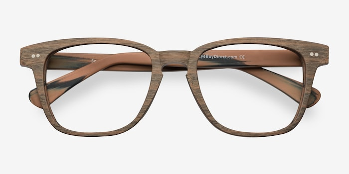 Samson  Brown Striped  Wood-texture Eyeglass Frames from EyeBuyDirect, Closed View