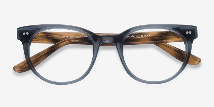 Daybreak Gray Acetate Eyeglass Frames from EyeBuyDirect, Closed View