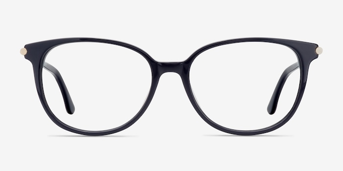 Jasmine Navy Acetate Eyeglass Frames from EyeBuyDirect, Front View
