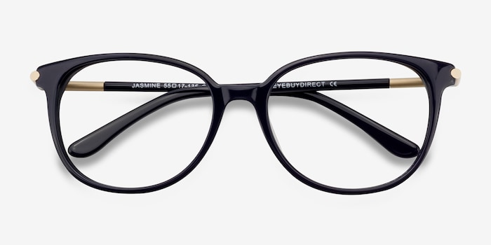 Jasmine Navy Acetate Eyeglass Frames from EyeBuyDirect, Closed View