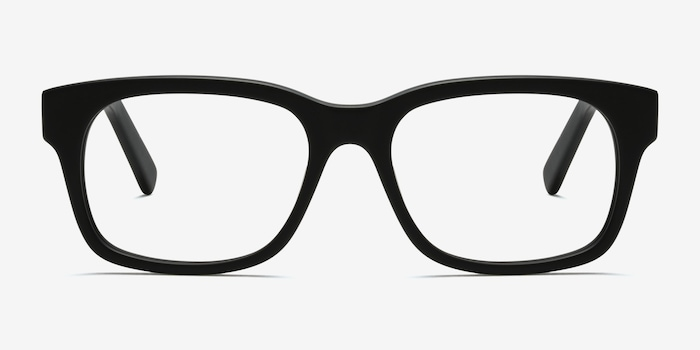 Lynch Matte Black Acetate Eyeglass Frames from EyeBuyDirect, Front View