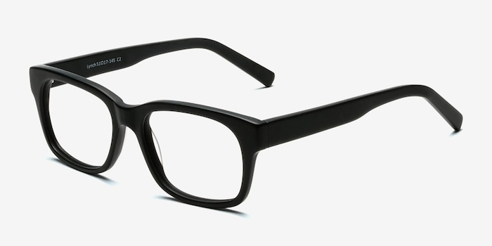Lynch Matte Black Acetate Eyeglass Frames from EyeBuyDirect, Angle View