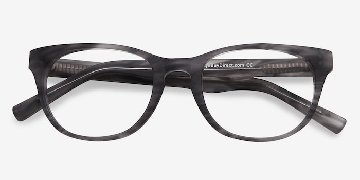 Confidence Gray Striped Acetate Eyeglass Frames from EyeBuyDirect, Closed View