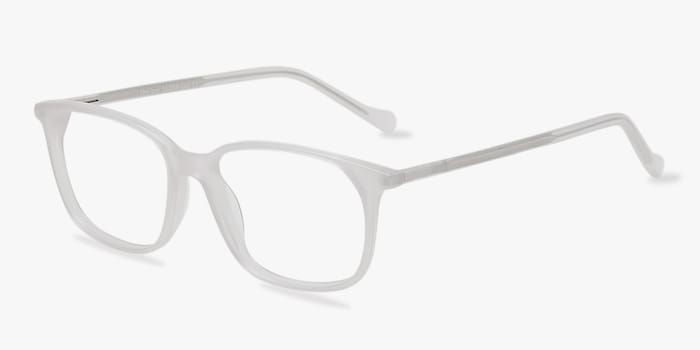 The Bay Clear White Acétate Montures de Lunettes d'EyeBuyDirect, Vue d'Angle
