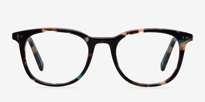 Demain  Blue Floral  Acetate Eyeglass Frames from EyeBuyDirect, Front View