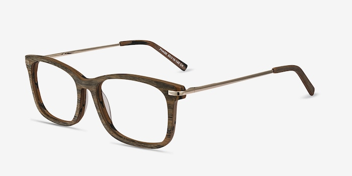 Phase Brown Acetate Eyeglass Frames from EyeBuyDirect, Angle View