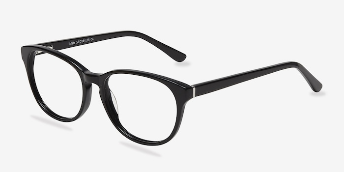 Mars Black Acetate Eyeglass Frames from EyeBuyDirect, Angle View