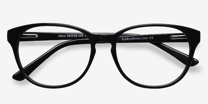 Mars Black Acetate Eyeglass Frames from EyeBuyDirect, Closed View