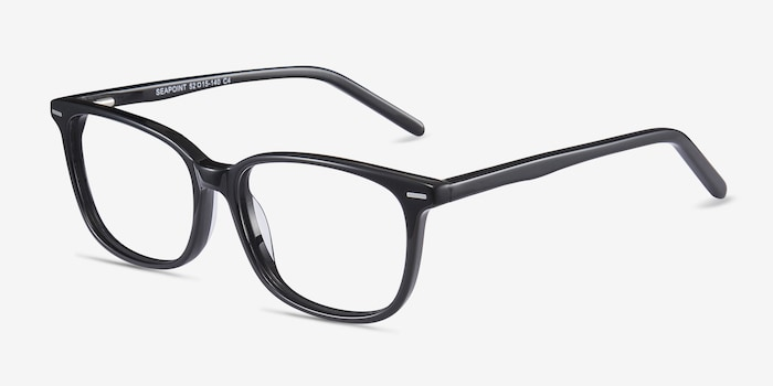 Seapoint Black Acetate Eyeglass Frames from EyeBuyDirect, Angle View