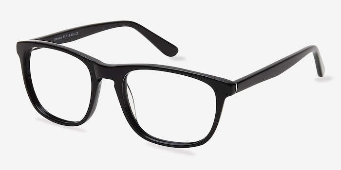 Damien Black Acetate Eyeglass Frames from EyeBuyDirect, Angle View