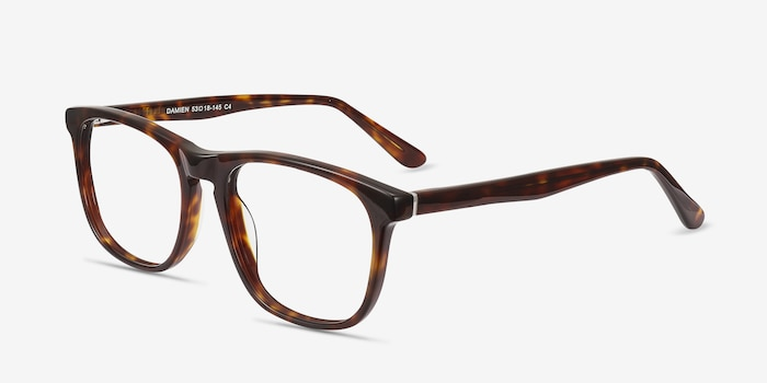 Damien Tortoise Acetate Eyeglass Frames from EyeBuyDirect, Angle View