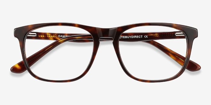 Damien Tortoise Acetate Eyeglass Frames from EyeBuyDirect, Closed View
