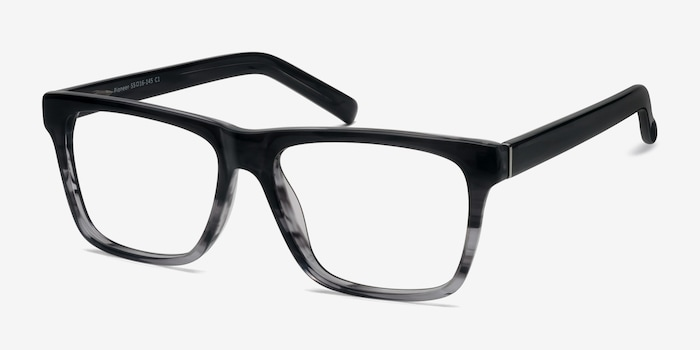 Pioneer Gray Acetate Eyeglass Frames from EyeBuyDirect, Angle View