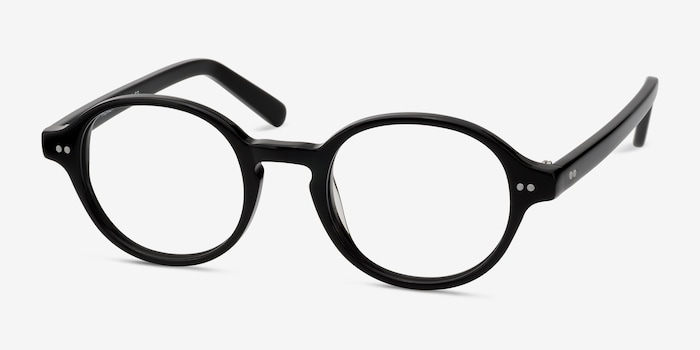 Homer Black Acetate Eyeglass Frames from EyeBuyDirect, Angle View
