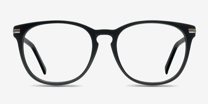 Decadence Black Acetate Eyeglass Frames from EyeBuyDirect, Front View