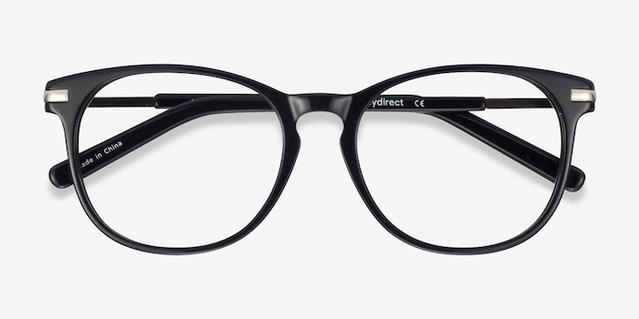 Decadence Black Acetate Eyeglass Frames from EyeBuyDirect, Closed View