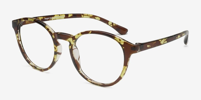 Bright Side Tortoise Plastic Eyeglass Frames from EyeBuyDirect, Angle View
