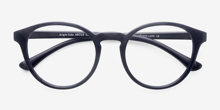 Bright Side Navy Plastic Eyeglass Frames from EyeBuyDirect, Closed View
