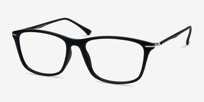 Thursday Black Plastic Eyeglass Frames from EyeBuyDirect, Angle View