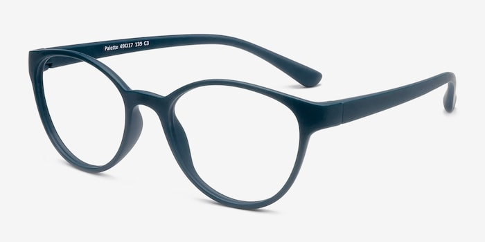 Palette Matte Green Plastic Eyeglass Frames from EyeBuyDirect, Angle View