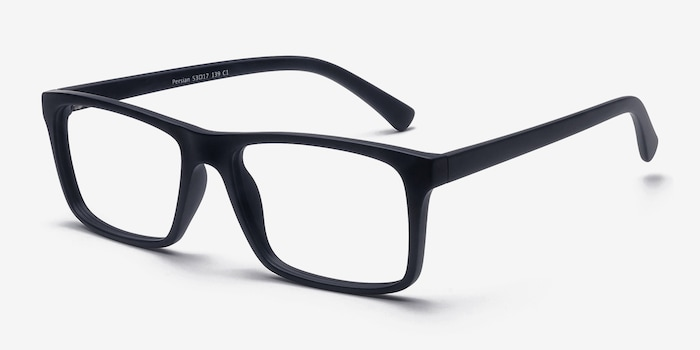 Persian Matte Navy Plastic Eyeglass Frames from EyeBuyDirect, Angle View