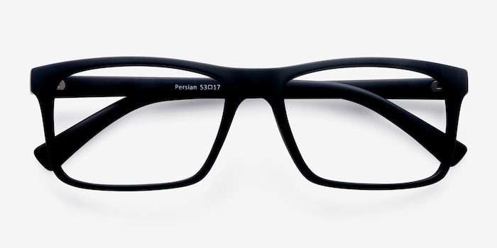 Persian Matte Navy Plastic Eyeglass Frames from EyeBuyDirect, Closed View