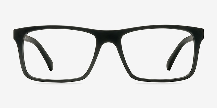 Persian Matte Black Plastic Eyeglass Frames from EyeBuyDirect, Front View