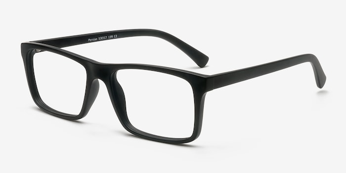 Persian Matte Black Plastic Eyeglass Frames from EyeBuyDirect, Angle View
