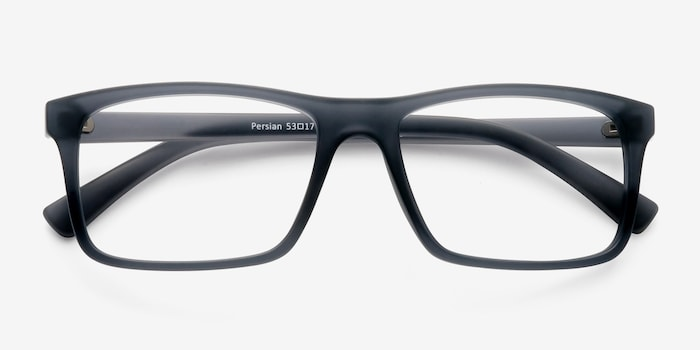 Persian Matte Gray Plastic Eyeglass Frames from EyeBuyDirect, Closed View