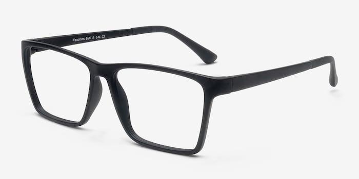 Equation Matte Black Plastic Eyeglass Frames from EyeBuyDirect, Angle View