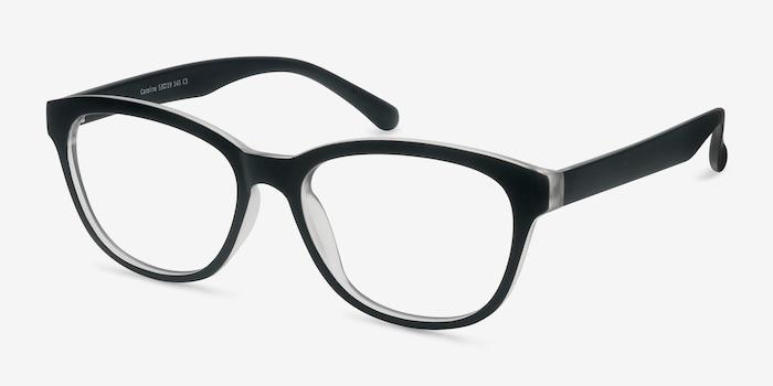 Caroline Matte Black Plastic Eyeglass Frames from EyeBuyDirect, Angle View