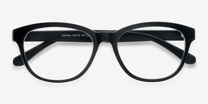 Caroline Matte Black Plastic Eyeglass Frames from EyeBuyDirect, Closed View