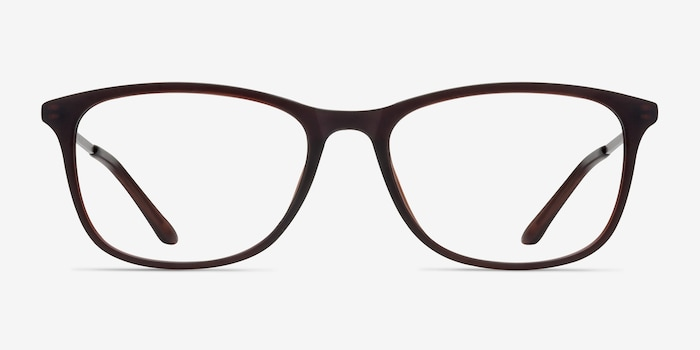 Oliver Matte Brown Plastic Eyeglass Frames from EyeBuyDirect, Front View
