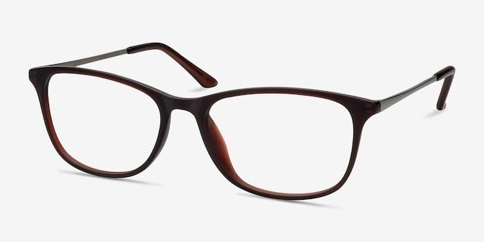 Oliver Matte Brown Plastic Eyeglass Frames from EyeBuyDirect, Angle View