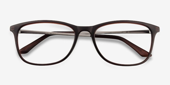 Oliver Matte Brown Plastic Eyeglass Frames from EyeBuyDirect, Closed View