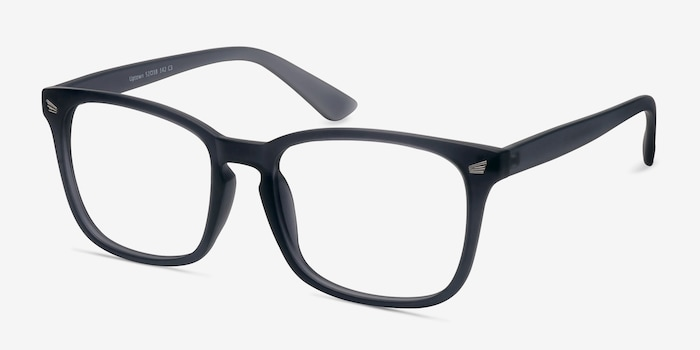 Uptown Matte Gray Plastic Eyeglass Frames from EyeBuyDirect, Angle View