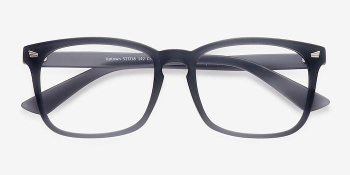 Uptown Matte Gray Plastic Eyeglass Frames from EyeBuyDirect, Closed View