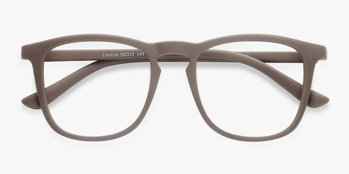 Central  Light Brown  Plastic Eyeglass Frames from EyeBuyDirect, Closed View