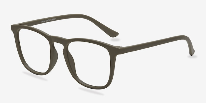Central  Matte Green  Plastic Eyeglass Frames from EyeBuyDirect, Angle View