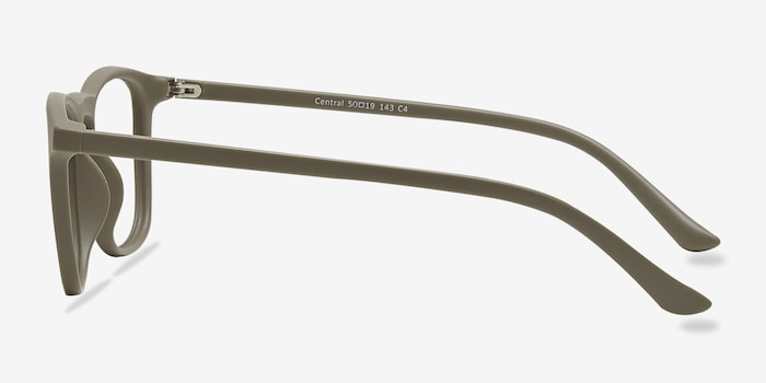 Central  Matte Green  Plastic Eyeglass Frames from EyeBuyDirect, Side View