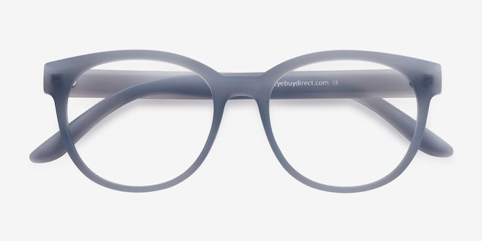 Grace Matte Blue Plastic Eyeglass Frames from EyeBuyDirect, Closed View