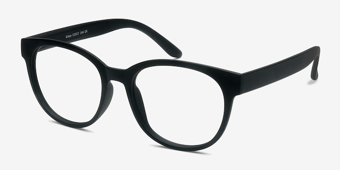Grace Matte Black Plastic Eyeglass Frames from EyeBuyDirect, Angle View