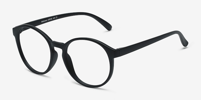 Delaware Matte Black Plastic Eyeglass Frames from EyeBuyDirect, Angle View