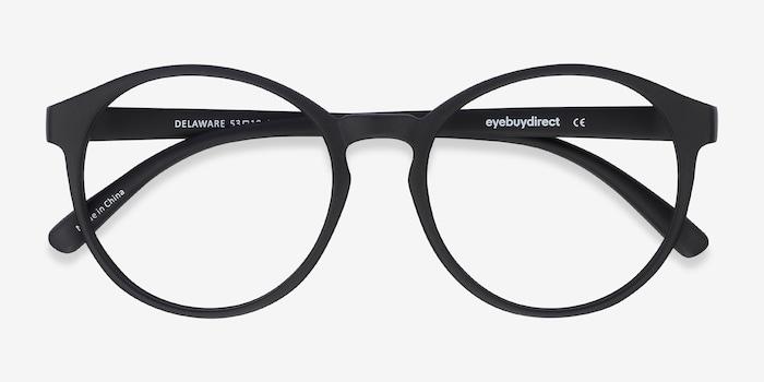 Delaware Matte Black Plastic Eyeglass Frames from EyeBuyDirect, Closed View